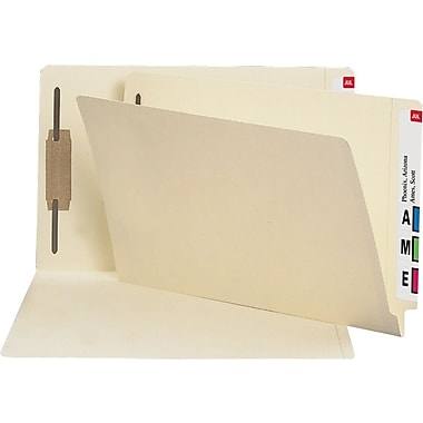 Staples® Manila End-Tab Fastener Folders with Reinforced Tab, Legal, 50/Box