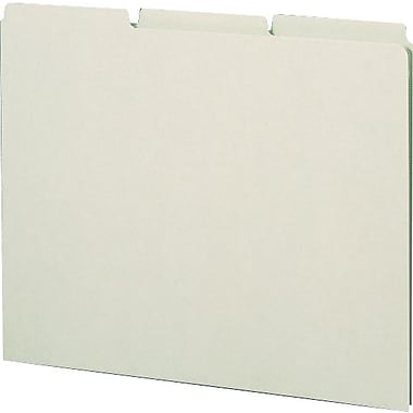 Smead® Top-Tab File Guides with Blank Tabs, Green Pressboard, 3 Tab, Letter Size