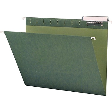 Smead Standard Green Hanging File Folders, 3 Tab, Letter, 25/Box