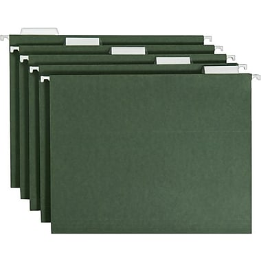 Smead Standard Green Hanging File Folders, 5 Tab, Letter, 25/Box