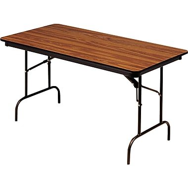 Iceberg 6'x30in. Melamine Laminate Folding Banquet Table, Oak