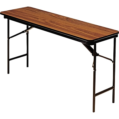 Iceberg 5'x18in. Melamine Laminate Folding Banquet Table,  Oak