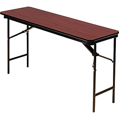 Iceberg 6'x18in. Melamine Laminate Folding Banquet Table, Mahogany