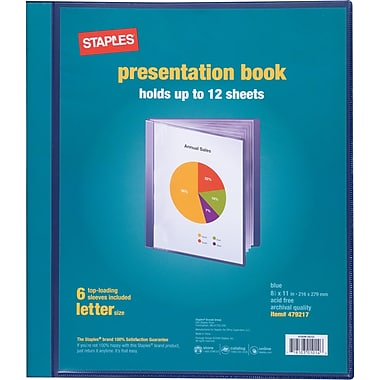Staples Presentation Binder, 6 Sleeve Capacity, Blue