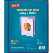 Staples Presentation Binder, 12 Sleeve Capacity, Blue (21619)