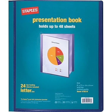 Staples® Presentation Binder, 24 Sleeve Capacity, Blue