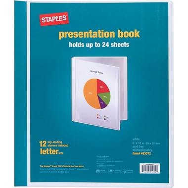 Staples Presentation Binder, 12 Sleeve Capacity, White