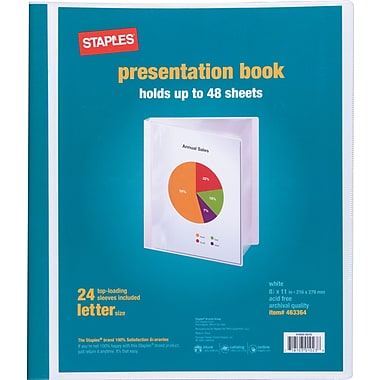 Staples Presentation Binder, 24 Sleeve Capacity, White