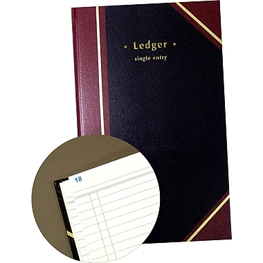 Staples Black Ledger Book, 11-3/4in. x 7-1/4in.
