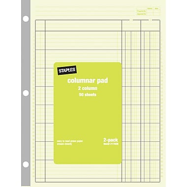 Staples® Brand Columnar Pads, 2 Columns, 8 1/2in. x 11in., 2/Pack