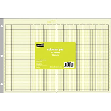 Staples® Columnar Pads, 12 Columns, , 11in. x 16-5/16in., Each