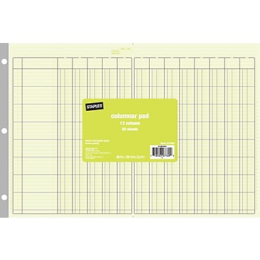 Staples® Columnar Pads, 13 Columns, 11in. x 16 5/16in., Each