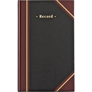Staples Black Record Book, 11-3/4in. x 7-1/4in.
