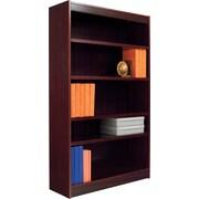 Alera 6-Shelf Radius Corner Wood Veneer Bookcase, Mahogany