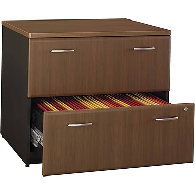 Bush Cubix Lateral File Cabinet, Cappuccino Cherry/Hazelnut Brown, Fully assembled