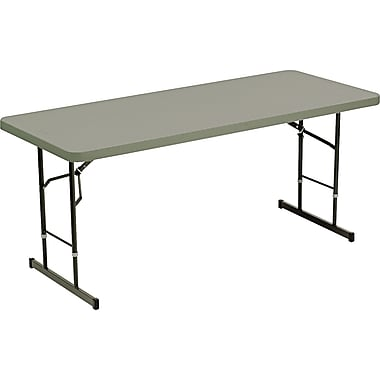 Iceberg 6' Adjustable Height Resin Folding  Table, Charcoal