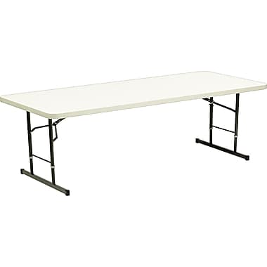 DBM Iceberg 8' Adjustable Height Resin Folding  Table, Platinum