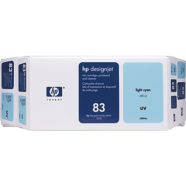 HP 83 UV Light Cyan Ink Cartridge, UV Printhead and Cleaner, (C5004A) Value Pack