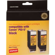 Staples® Remanufactured Black Ink Cartridge Compatible with Canon® PGI-5, 2/Pack