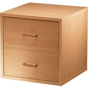 Foremost® Hold'ems Modular Cube Storage System, Honey Oak 15H x 15W x 15D 2-Drawer Cube