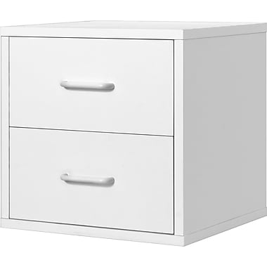 Foremost® Hold'ems Modular Cube Storage System, White 15in.H x 15in.W x 15in.D 2-Drawer Cube