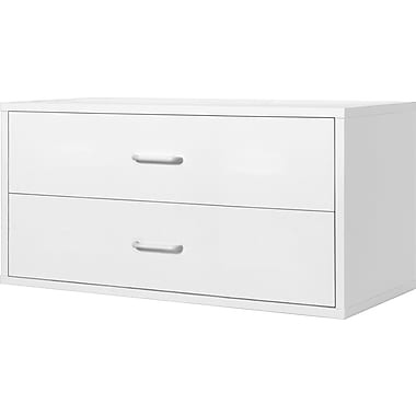 Foremost® Hold'ems Modular Cube Storage System, White 15in.H x 30in.W x 15in.D 2-Drawer Cube