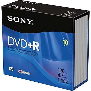 Sony 10/Pack 4.7GB DVD+R, Jewel Cases