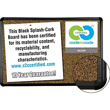 Best-Rite Cork Board, Black Splash, 3' x 2'