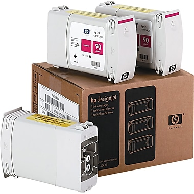 HP 90 400ml Magenta Ink Cartridges (C5084A), High Yield, 3/Pack