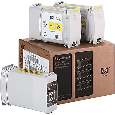 HP 90 400ml Yellow Ink Cartridges (C5085A), High Yield, 3/Pack
