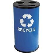 Ex-Cell Round Three-Compartment Recycling Container, 14 gal, Blue/Black (RC1528-3RBL)