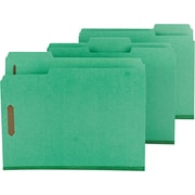 "Smead Top Tab Colored Pressboard Fastener Folders, 1/3 Cut, Green, Letter,  8 1/2"" x 11"", 25/Bx"