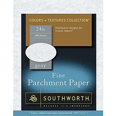 SOUTHWORTH® Parchment Specialty Paper, 8 1/2in. x 11in., 24 lb., Parchment Finish, Gray, 100/Box