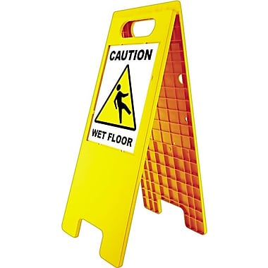 Floor Tent Sign, Doublesided, Plastic, Yellow