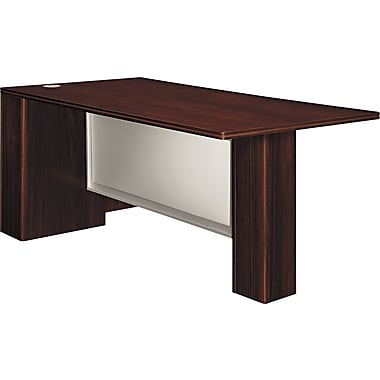 Hon®  Attune Series 72in. Left Peninsula With End Panel, Frosted Modesty, Mahogany