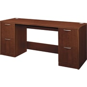 Hon®  Attune Series 72 Credenza, Double Pedestal With Kneespace, Shaker Cherry