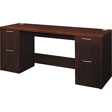 Hon®  Attune Series 72in. Credenza, Double Pedestal With Kneespace, Mahogany