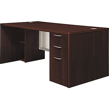 Hon®  Attune Series 72in. Right Single Pedestal Desk, Frosted Modesty Panel, Mahogany