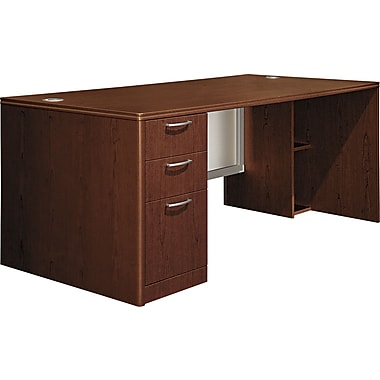 Hon®  Attune Series 72in. Left Pedestal Desk, Frosted Modesty Panel, Shaker Cherry