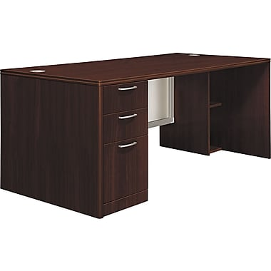 Hon®  Attune Series 72in. Left Pedestal Desk, Frosted Modesty Panel, Mahogany