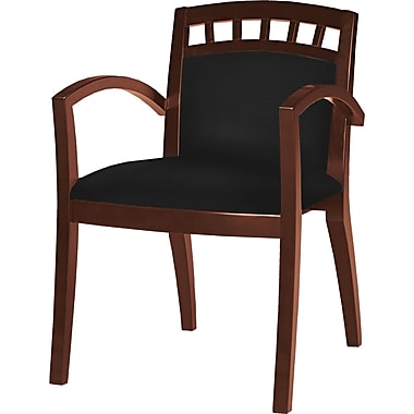 Tiffany Industries™ Mercado Leather/Wood Arch-Back Guest Chair, Mahogany Finish, 2/Pack, Black