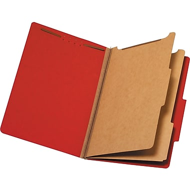 Staples Brightly Colored Classification Folders, Legal, 2 Partitions, Red, Each