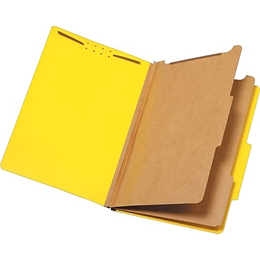 Staples® Brightly Colored Classification Folders, Legal, 2 Partitions, Yellow, Each