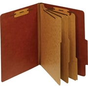 Staples® Colored Pressboard Classification Folders, Letter, 3 Partitions, Red, 20/Pack