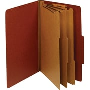 Staples® Colored Pressboard Classification Folders, Legal, 3 Partitions, Red, 20/Pack