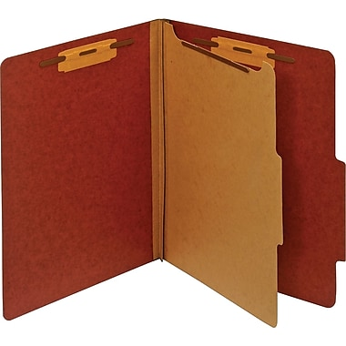 Staples® Colored Pressboard Classification Folders, Letter, 1 Partition, Red, 20/Pack