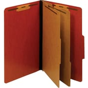 Staples® Colored Pressboard Classification Folders, Legal, 2 Partitions, Red, 20/Pack