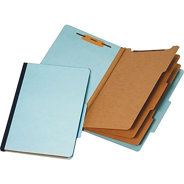 Staples® Colored Pressboard Classification Folders, Legal, 3 Partitions, Light Blue, 20/Pack