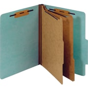 Staples® Colored Pressboard Classification Folders, Letter, 2 Partitions, Light Blue, 20/Pack