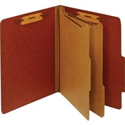 Staples® Colored Pressboard Classification Folders, Letter, 2 Partitions, Red, 5/Pack